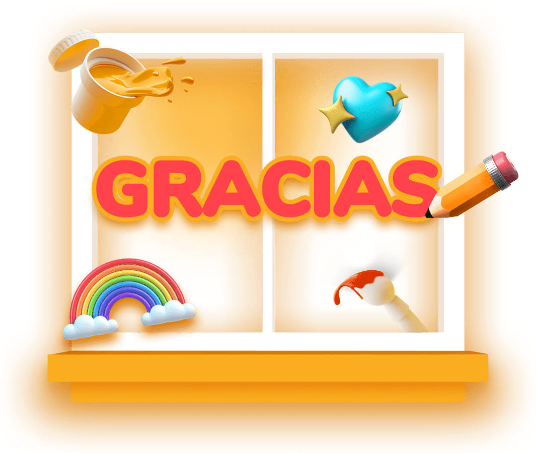 Illustration of a white frame window and the word gracias in red color