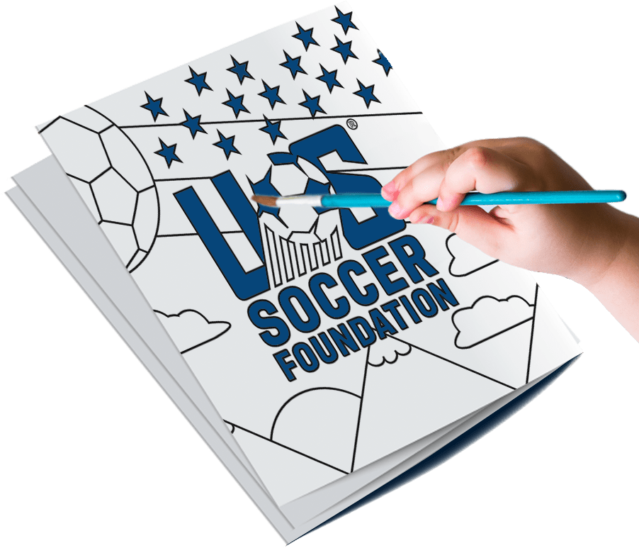 Image of a hand applying blue color to the US Soccer Foundation logo