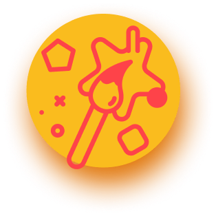 Red brush icon, on yellow button