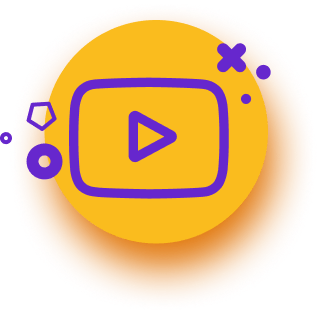 Play icon, purple color, on yellow button