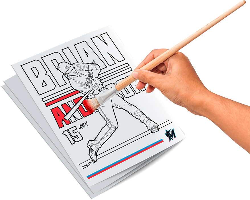 Image of a hand applying red color to Miami Marlins coloring book